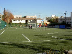 Artificial turf soccer field