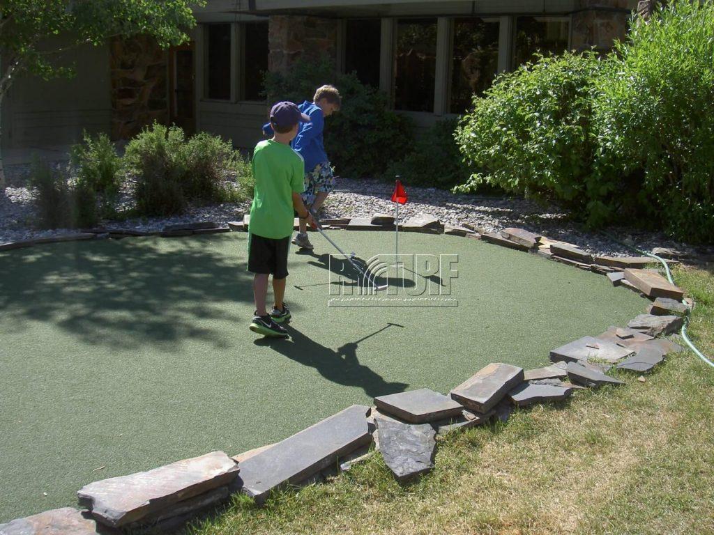 Artificial grass green practice area