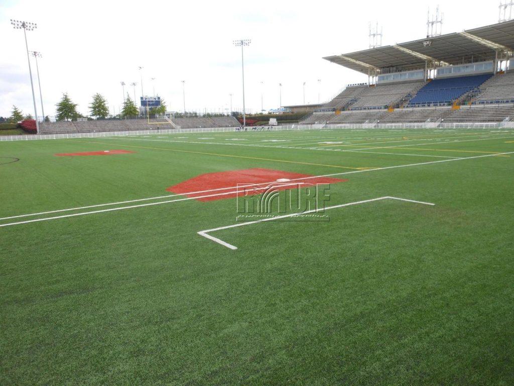 Artificial turf baseball field