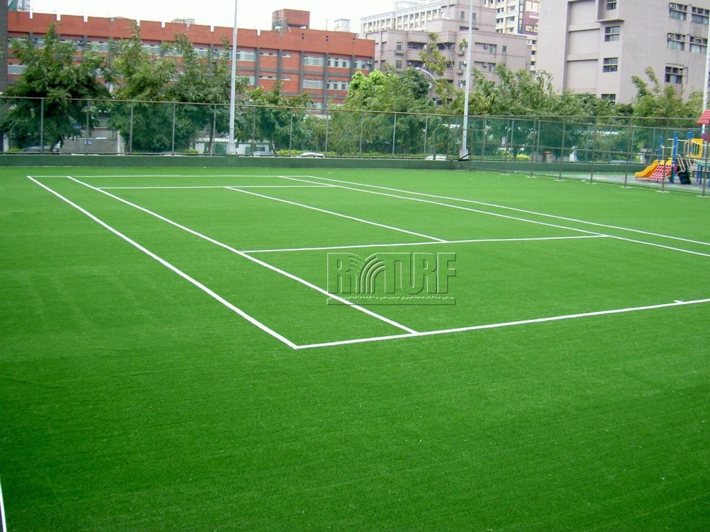 Artificial grass tennis court in Minsheng Park, Banqiao District, New Taipei City