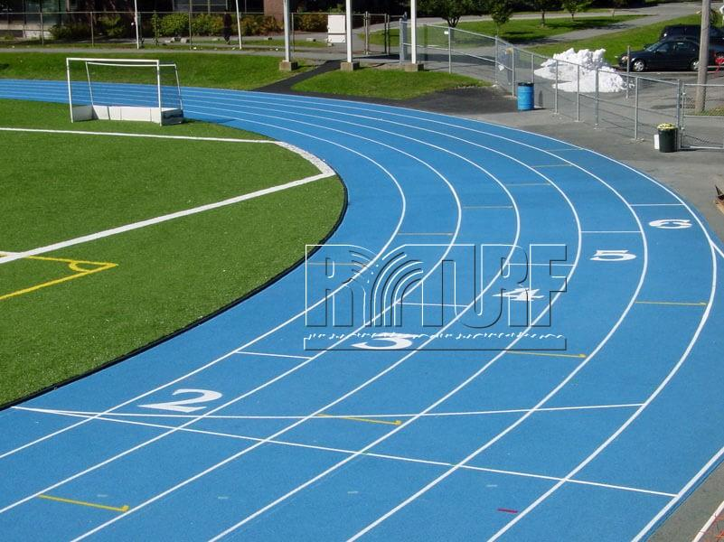 Artificial turf running tracks (blue color)
